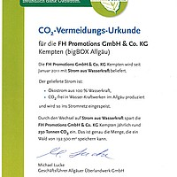 CO2 Vermeidungs Urkunde